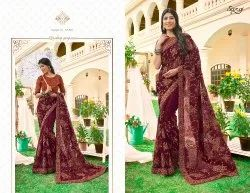 Party Wear Embroidery Work Georgette Saree