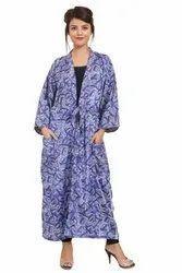 Beachwear Full Sleeves Sari Silk Vintage Kimono Robe Dress, Size: Free
