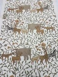 Jungle Hand Embroidered Crewel Fabric