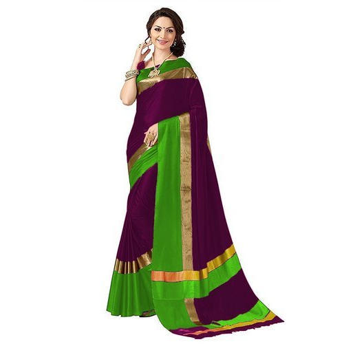 b0530504d2a18 Party Wear Poly Cotton Saree With Blouse
