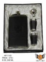 Leather Hip Flask Set