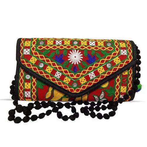 Cotton Handmade Elephant Embroidery Rajasthani Gujarati Sling/Clutch Bag For Women