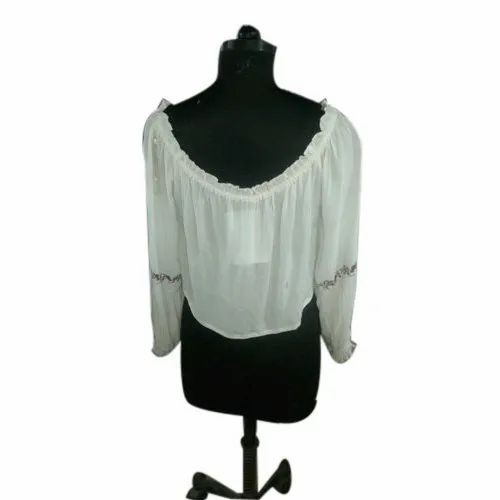 Cotton Off Shoulder Ladies White Top, Packaging Type: Box