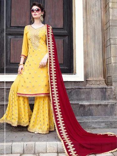 b02e992158 Yellow Palazzo Salwar Kameez, Rs 1895 /piece, Zaasmart   ID: 19919481948