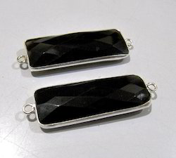Black Onyx Baguette Shape Briolette Connector