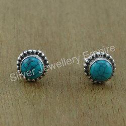 Charming Turquoise Gemstone Handmade Jewelry Stud Earring