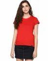 Plain Half Sleeve Women T-shirts