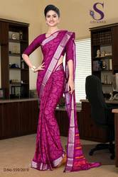 Designer Crepe Uniform Saree