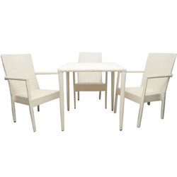 Cream Designer Cane Dining Table Set, For Home