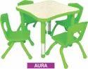 Green Pp Moulded Edge Adjustable Kids School Furniture