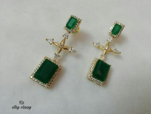91670cf54 Designer 2 Sided Dark Green Emerald Earrings (Glass Stones, American  Diamond And Cubic Zirconia