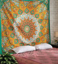 Black Decorative Mandala Elephant Printed Home Decor Wall Tapestry