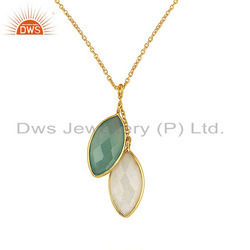 Moonstone Gemstone Gold Plated Silver Chain Pendant