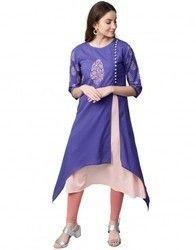 Women Blue Ethnic Motifs A-Line Cotton Kurta With Inner