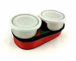 White, Orange Office Plastic Lunch Box, Shape: Round