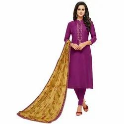 Rajnandini Purple Chanderi Silk Embroidered Semi-Stitched Dress Material With Printed Dupatta