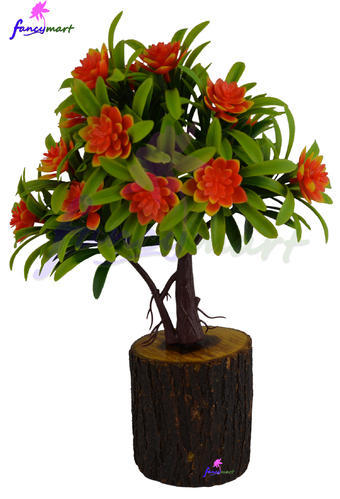artificial flower bonsai plant in natural wood pot at rs 150 /piece