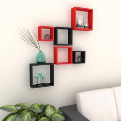 Black and Red Wooden Wall Decor Shelves
