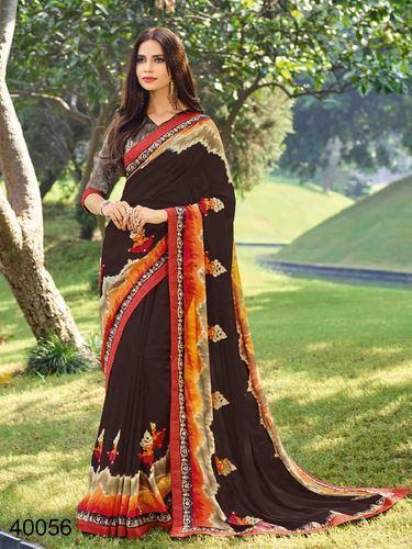 a98cb634f1d912 Georgette Print Multi Color Floral Saree With Blouse Piece, Rs 935 ...