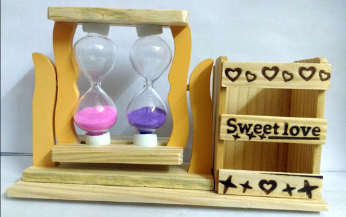 Wooden Double Hourglass Sandglass With Pen Holder Office Home