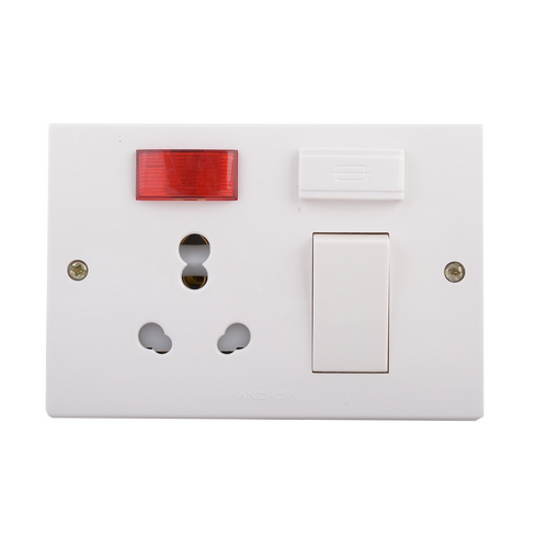 White And Red 3 Pin Electric Switch  Rs 136   Piece  Ganesh