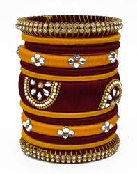 Mahroon and yellow silk thread Bangle