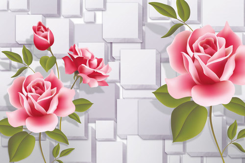 Vinyl Non Woven Floral Printed 3D Wallpaper With Red Roses Pattern For Walls