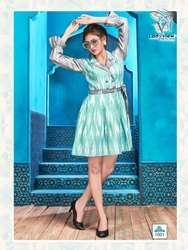 Multicolor Party Wear Designer Latest Ikat Print Tunics