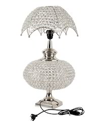 Handmade Silver Decorative Glass Crystal and Metal Lamp