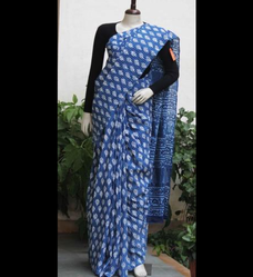 Hand Block Bagru Printed Cotton Saree