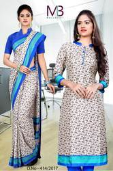Cream with Blue Border Mulberry Silk Uniform Saree Kurti Combo