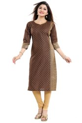 Brown 3/4th Sleeves Cotton Kurti