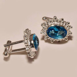 Blue Gemstone Sterling Silver Cufflinks