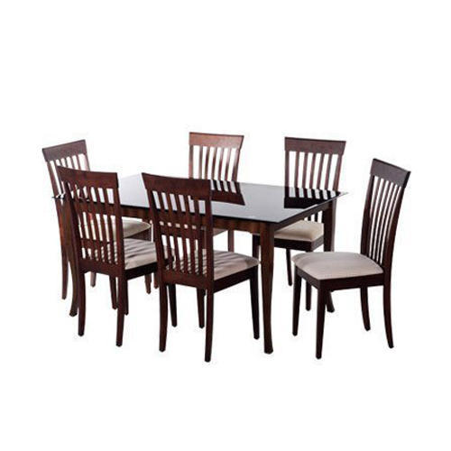 Wooden Six Chairs One Table Rectangular Glass Dining Table 6 Chair And 1 Table For Home Hotel Rs 31000 Set Id 20064322055