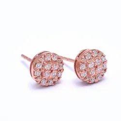 Fine Rose Gold Diamond Silver Studs