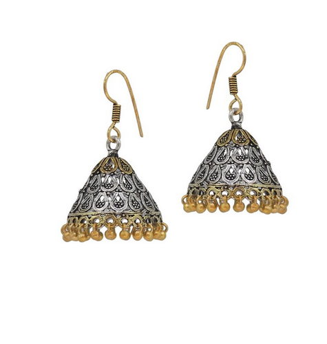 Gold And Silver Plating Good Quality Oxidised Plated Partywear Earrings