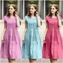 Ladies Frock Style Cotton Dress Wth Pintex Work