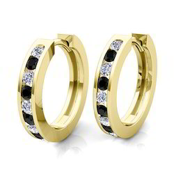 Yellow And White Gold Diamond Hoop Earrings