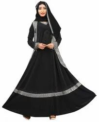 Women's Lycra Abaya Burqa With Jacket And Chiffon Dupatta