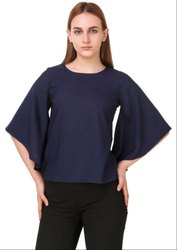 Midnight Blue Solid Crepe Top