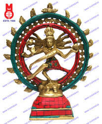 Natraj Dancing Double Ring W/ Stone Work Statue
