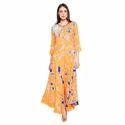Indo Western Hand Tye & Dye Designer Rayon Long Dress