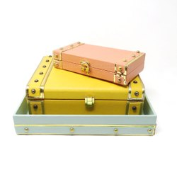 Faux Leather Jewelry Organizer Wedding Trays Decorative Leatherette Storage Boxes
