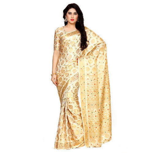 a1755610a3ec68 Off White 6.2 Mtr Including Blouse Mimosa By Kupinda Women  s Art Silk  Kanjivaram Style