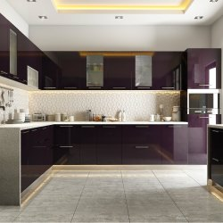 Wooden L Shape Modular Kitchens, Kitchen Cabinets