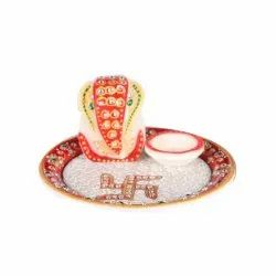 Multicolor Pooja And Festivals Marble Pooja Thali for Religion
