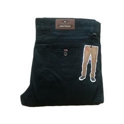 Gents Cotton Black Plain Trouser, Size: 28-40