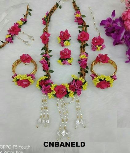 Wedding Artificial Flower Bridal Haldi Mehendi Jewelry Set Id