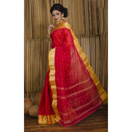 d4fd4c4ee5 Pure Bengal Handloom Cotton Saree in Red and Yellow, Bengal Cotton ...