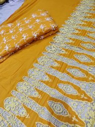 Satkaar Applique Cotton Embroidery Fabric, GSM: 100-150 Gsm, Packaging Type: Poly Bag